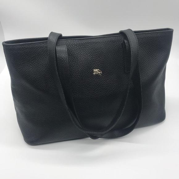 Burberry Handbags - Burberry Black Pebbled Leather Tote Purse Handbag